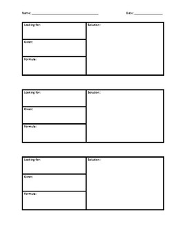 Science math problems template
