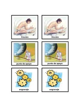 Science memory game in Spanish