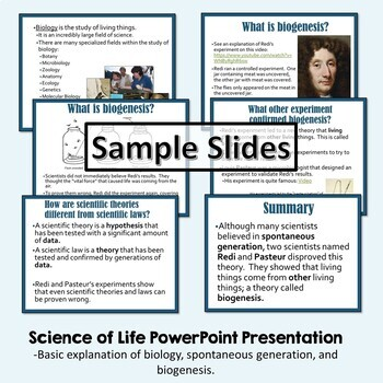 Science of Life Cornell Notes - Biogenesis and Spontaneous Generation