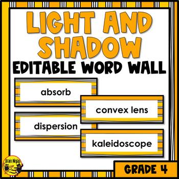Light & Shadow Word Wall Words- Editable