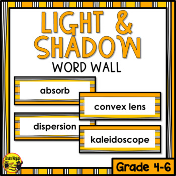 Light & Shadow Word Wall Words- Editable