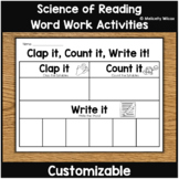 Word Work Activities The Science of Reading CUSTOMIZABLE