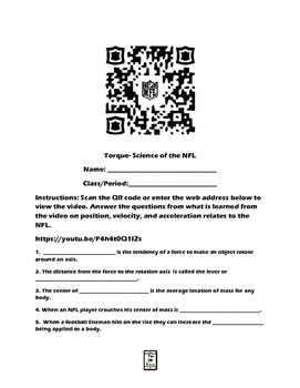 Science of the NFL QR Code Video Worksheet Bundle