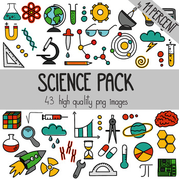 Science pack with different science tools and symbols