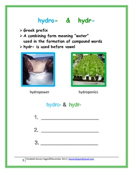 Science prefixes hydro- and hydr- A Multisensory Approach