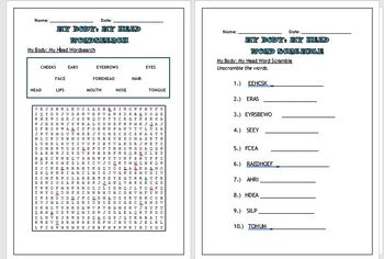 Science puzzles: My body, My head (Wordsearch and Word scramble)