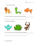 Science quiz animal classification