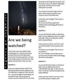 Science reading article x 2 - Child of the Stars and Are we being watched?