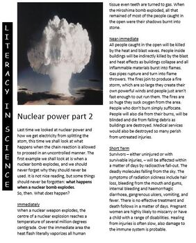 Science reading article x 2 - Nuclear power 1 and Nuclear power 2