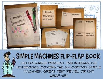 Science simple machines no prep foldable flip flap book in