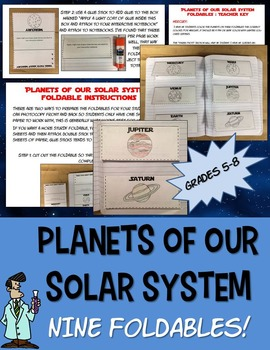 Science solar system astronomy interactive notebook planet foldables + Pluto 4-8