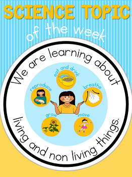 Science topic of the week poster - Living and Non Living