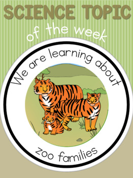 Science topic of the week poster - Zoo families