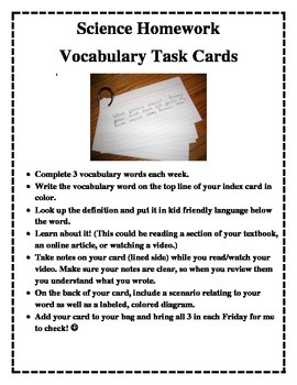 Science vocabulary card homework instructions