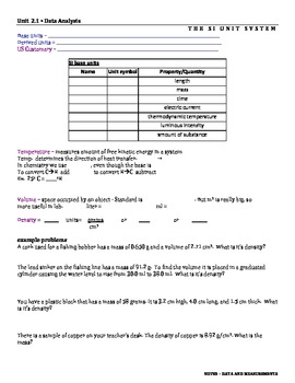 Science with significant figures, units, and scientific notation Lesson Plans SE
