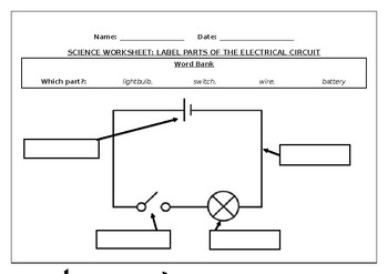 Science worksheet: Label parts of an electrical circuit