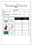 Science worksheet, Rocks and their uses