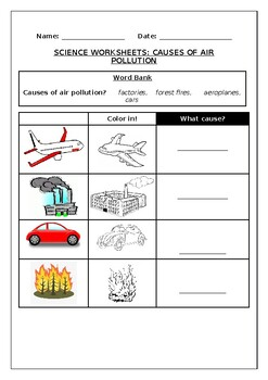 Science worksheets: Causes of air pollution