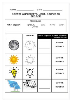 Science worksheets: Light: Source or Reflect?