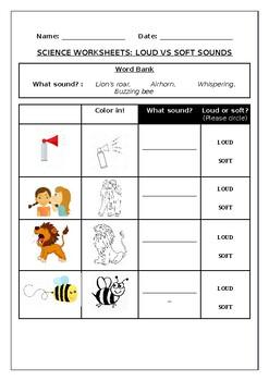 Science worksheets: Loud vs Soft Sounds