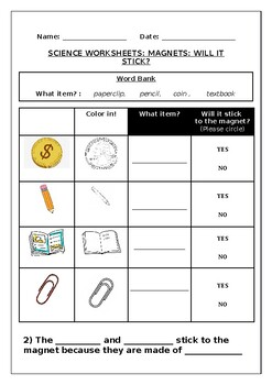 Science worksheets: Magnets: Will the item stick?