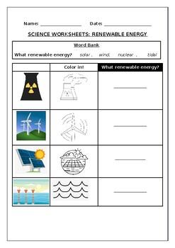 Science worksheets: Renewable energy sources