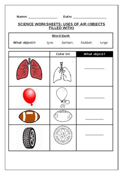 Science worksheets: Uses of air (Objects filled by)