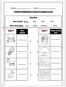 Science worksheets: Where do animals live?