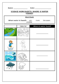 Science worksheets: Where is water found?