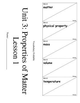 ScienceFusion 3rd grade Unit 3 Lesson 1 Vocabulary Foldabl