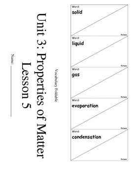 ScienceFusion 3rd grade Unit 3 Lesson 5 Vocabulary Foldabl