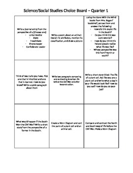 Science/Social Studies Choice Board