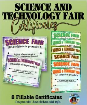 Science/Technology Fair Participant Editable Certificates