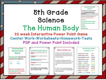 Science–The Human Body-Interactive Power Point Game-Worksheets-Tests-Daily 5