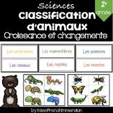 Sciences - Croissance et Changements (Classification d'animaux)