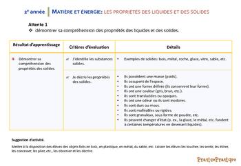 Sciences, Matière et énergie, RA et critères d'évaluation, 2e année
