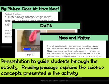 Claim, Evidence, Reasoning - Scientific Argument - Does Air Have Mass Activity