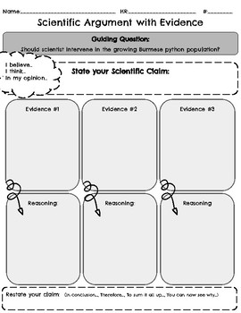 Scientific Argument Graphic Organizer