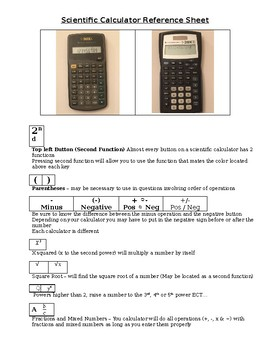 Scientific Calculators Quick Reference Sheet