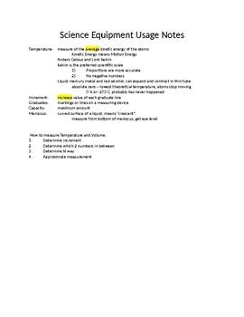 Scientific Equipment Usage Notes