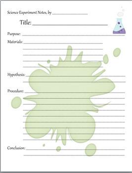 Scientific Experiment Lab Notes Sheets