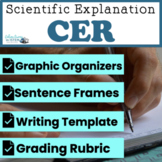Scientific Explanation CER (Claim, Evidence, Reasoning) Blank with rubric