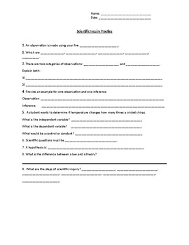 Scientific Inquiry (Fill in the Blank)