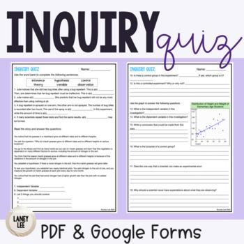 Scientific Inquiry Quiz FREEBIE
