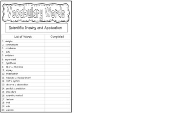 Scientific Inquiry Vocabulary Journal
