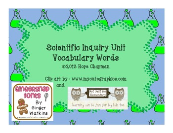 Scientific Inquiry Vocabulary Word Wall