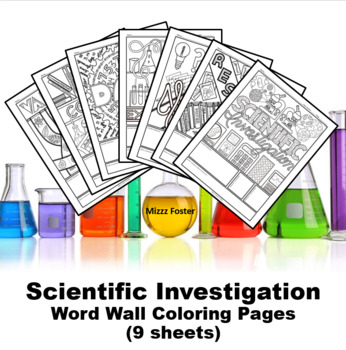 Scientific Investigation Word Wall Coloring Sheets (7 pages)