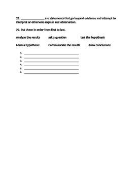 Scientific Investigation Review Quiz
