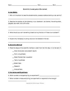 Scientific Investigation Worksheet