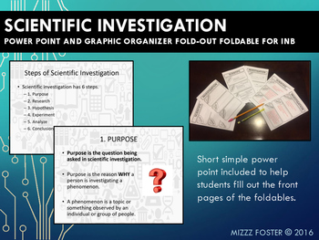 Scientific Investigation and Experiment Power Point & Graphic Organizer for INB